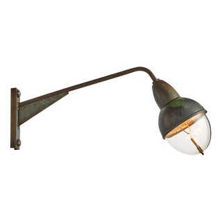 Copper Entry Light With Prismatic Holophane Lens Circa 1940s
