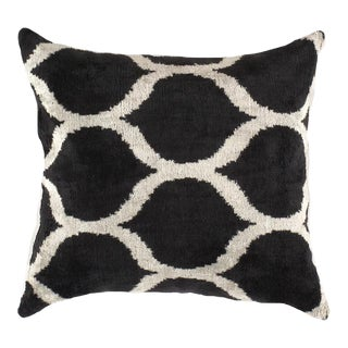 Turkish Hand Woven Silk Velvet Ikat Pillow 20'' #Ti 304 For Sale