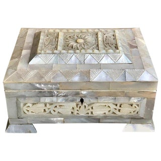 Antique English Carved Mother of Pearl Table Box With Key For Sale