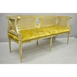 Vintage French Provincial Louis XVI Style Cane Back Cream & Gold Bench Settee Preview