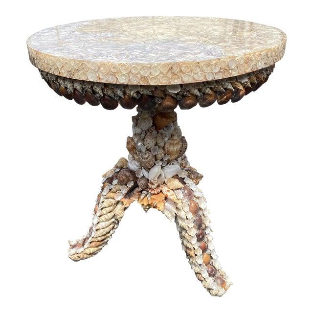 Custom Shell Pedestal Side Table For Sale