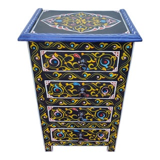 Moroccan Hand Painted Black Wooden Nightstand For Sale