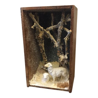 Folk Art Hand Made Sheep Winter Diorama Box For Sale