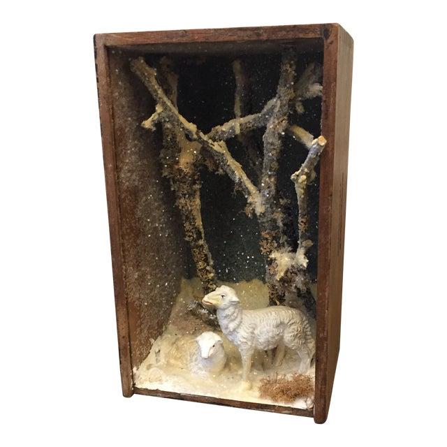 Folk Art Hand Made Sheep Winter Diorama Box For Sale