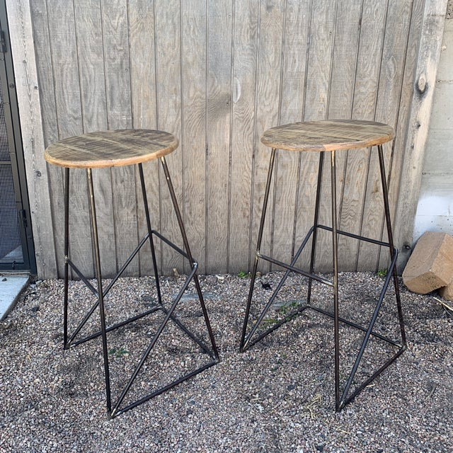 2010s Modern Kalalou Rustic Wood and Metal Bar Stools- A Pair For Sale - Image 5 of 13