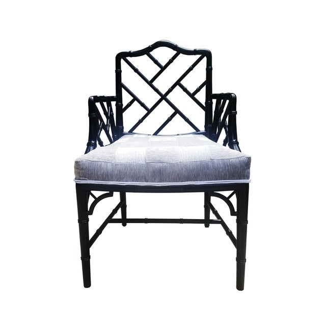Faux Bamboo Chinese / Chippendale / maison Jansen style black lacquered armchair. In the manner of Maison Jansen. Circa...