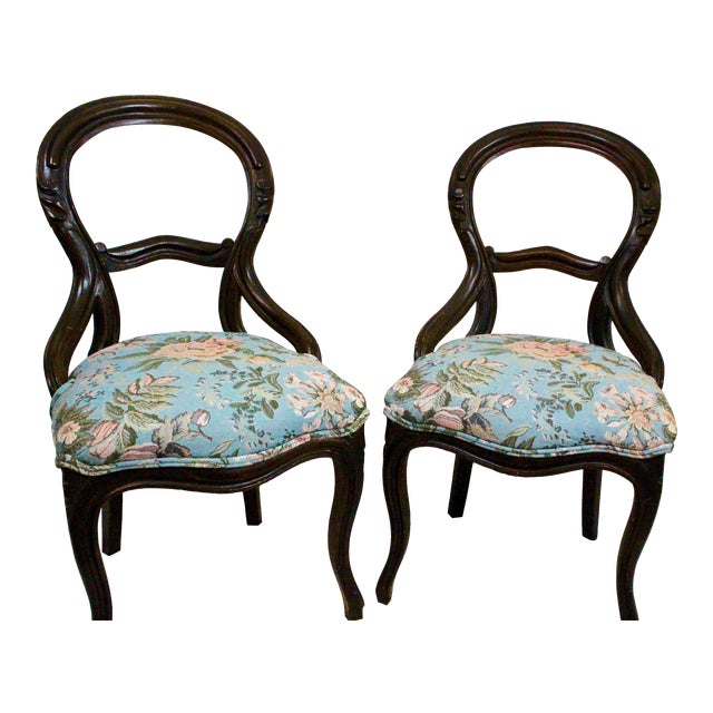 Antique Blue Needlepoint Chairs - A Pair For Sale