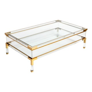 Vintage 1970s Sliding Glass Top Coffee Table Attributed to Maison Jansen For Sale