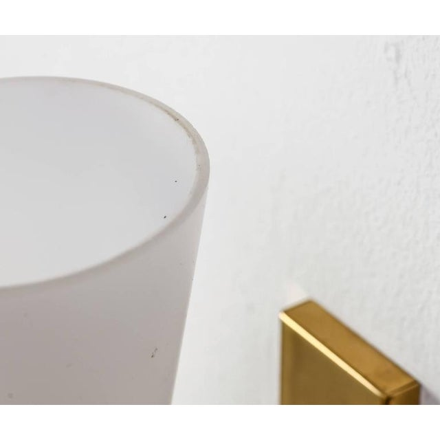 Asea brass and opaline glass bedside wall lamps, Sweden, 1950s For Sale - Image 6 of 6