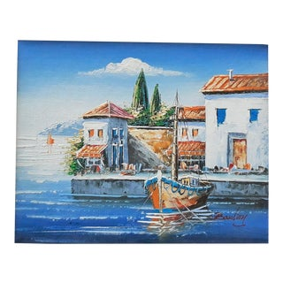 Vintage Mykonos Island Harbor Greece Original Oil Painting For Sale