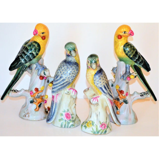 (Final Mark Down Taken) Chinese Export Porcelain Parrot Figurines - Set of 4 For Sale - Image 10 of 12