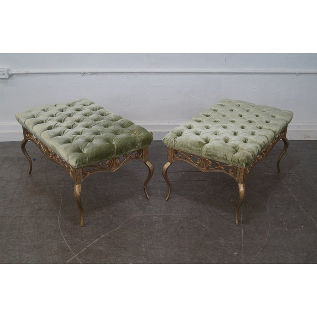 French French Louis XV Gilt Metal Tufted Benches - Pair For Sale - Image 3 of 10
