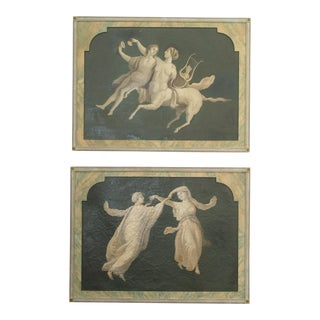 Pair of Grisaille Paintings of Classical Figures For Sale
