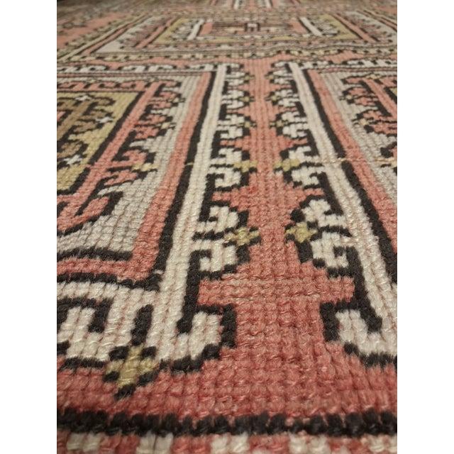 "Vintage Square Pattern Turkish Oushak Rug - 4'2"" x 6' - Image 5 of 11"