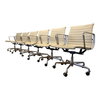 Herman Miller Leather Eames Aluminum Management Group Chairs - Set of 6
