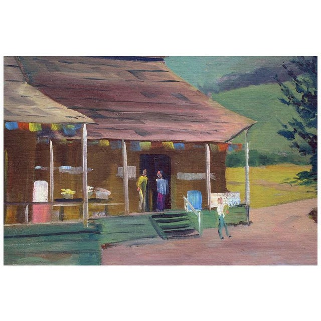 Plein air oil painting of a wooden barn in Aptos, California, by artist Jon Blanchette (American, 1908-1987). Jon...
