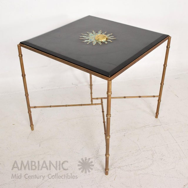 Mexican Modernist Centre Table in Brass, Wood & Malachite, Pepe Mendoza Square For Sale - Image 10 of 11