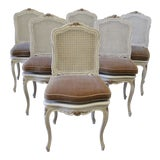 Image of Early 20th Century Painted French Louis XV Style Cane Back Dining Chairs - Set of 6 For Sale