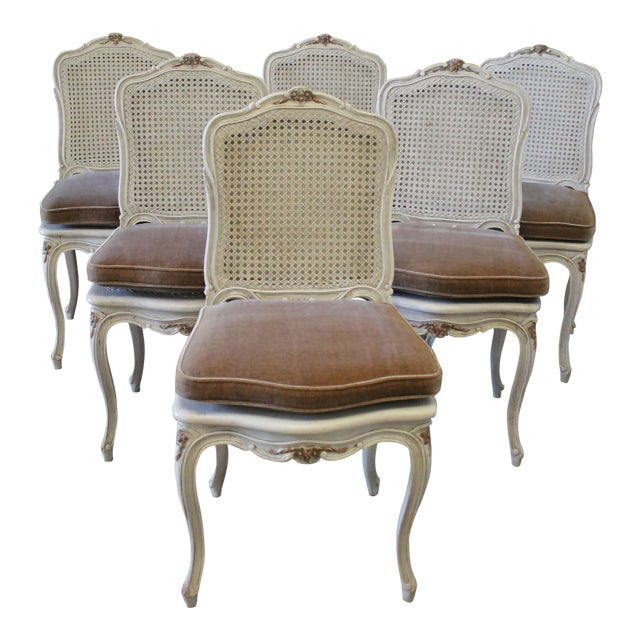 9ea8f60c5063 Early 20th Century Painted French Louis XV Style Cane Back Dining Chairs -  Set of 6