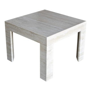 Vintage Travertine Side Table Circa 1980 For Sale