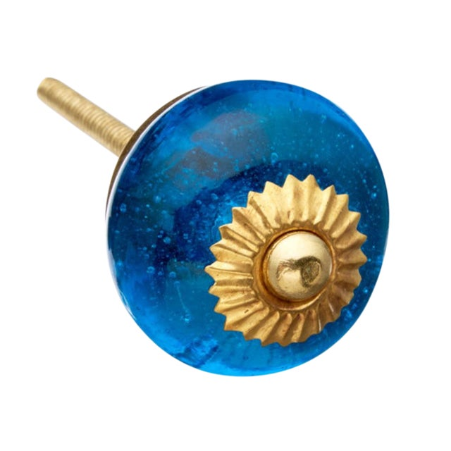 Blue Glass Round Knobs - Set of 6 - Image 1 of 3