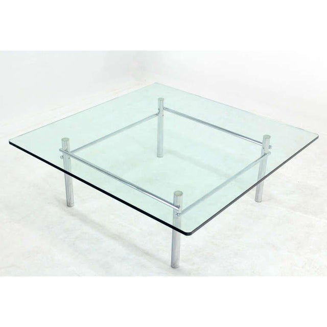 Mid-Century Modern Solid Chrome Base with Heavy Steel Bars and Square Glass-Top Coffee Table For Sale - Image 3 of 10