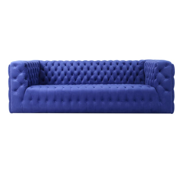 Pasargad Home Vicenza Collection Velvet Tufted Sofa, Blue For Sale - Image 9 of 9