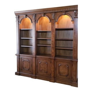 Architectural Bookcase With Burled Inlays and Locking Storage For Sale