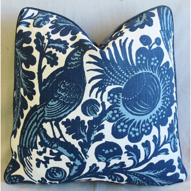 """Early 21st Century Scalamandré Blue & White Spoleto Bird & Floral Feather/Down Pillow 22"""" Square For Sale - Image 5 of 6"""