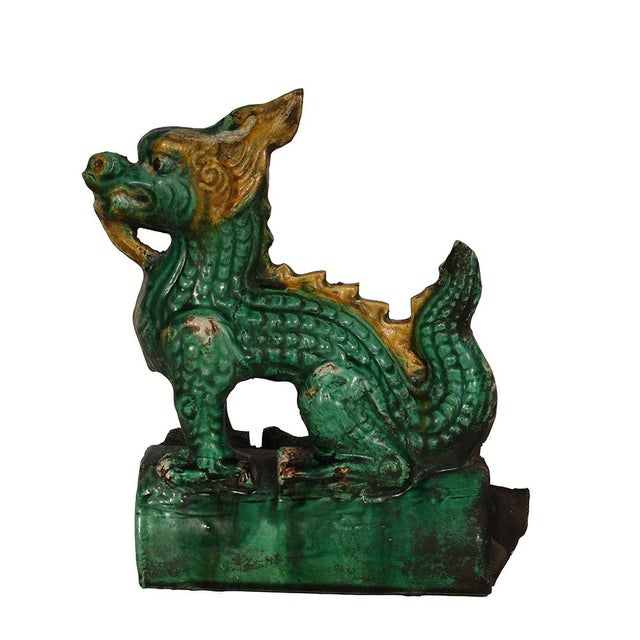 Asian Vintage Chinese Glazed Ceramic Dragon Roof Tile For Sale - Image 3 of 8
