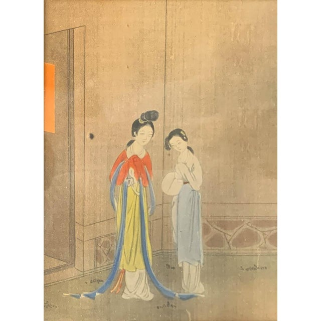 Asian Antique Chinese Painting - Woman in Waiting For Sale - Image 3 of 8
