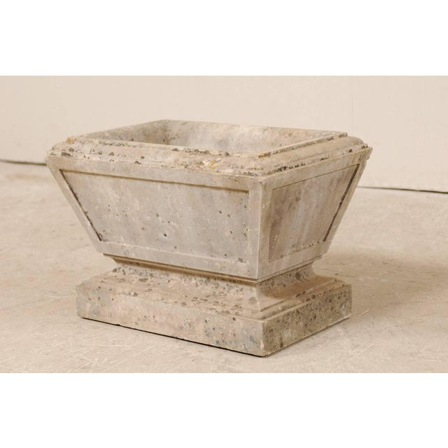 Early 20th Century European Hand-Carved Rectangular Tapered Stone Planter For Sale - Image 5 of 8