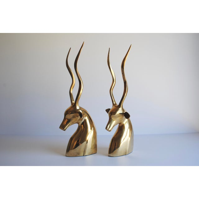 Mid-Century Brass Kudu Bookends - Image 2 of 4