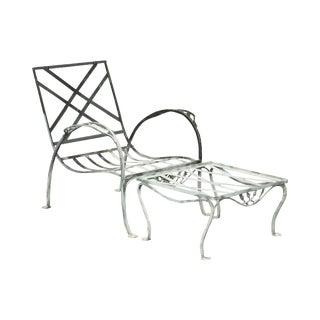 Salterini Vintage Wrought Iron Patio Garden Lounge Chair W/ Ottoman For Sale