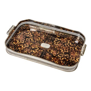 """English Silver Plated Tortoise Shell Serving Rectangular Tray 29"""" L. For Sale"""