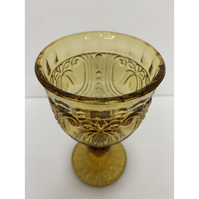 Vintage 1940's Amber Glass Goblets - Set of 6 For Sale In New York - Image 6 of 13
