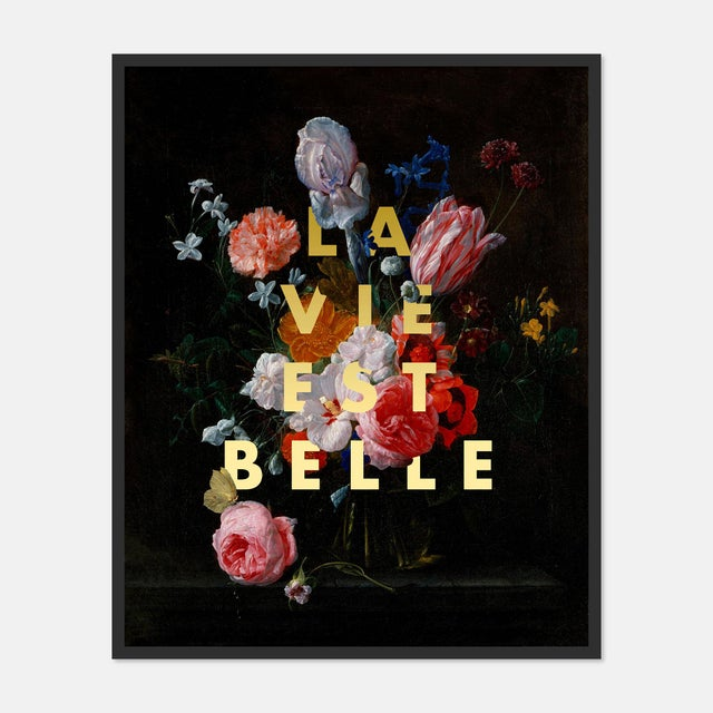 Contemporary La Vie Est Belle by Lara Fowler in Black Framed Paper, Large Art Print For Sale - Image 3 of 3