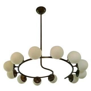 12 Globe Italian Modern Brass Chandelier by Blueprint Lighting For Sale