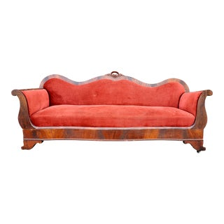 Antique Mahogany Red Velvet Empire Settee For Sale