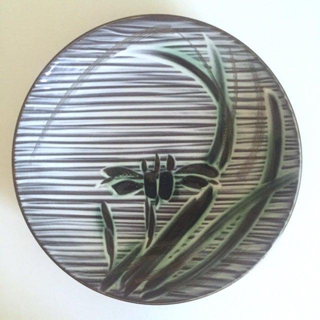 Asian Vintage Mid-Century Modern Occupied Japan Irises Ceramic Plate Bowls - 5pc Set For Sale - Image 3 of 11