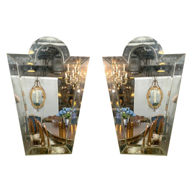 Art Deco Venetian 'Key Hole' Shaped Mirrors - A Pair For Sale - Image 3 of 7