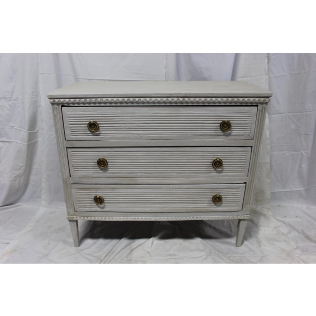 Early 20th Century 20th Century Gustavian Gray Oak Bedside Chests - a Pair For Sale - Image 5 of 9