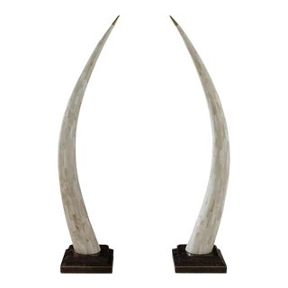 Faux Elephant Tusk Sculptures - a Pair For Sale