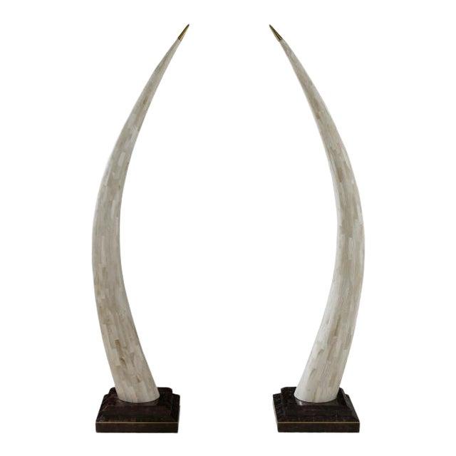 Faux Elephant Tusk Sculptures - a Pair For Sale