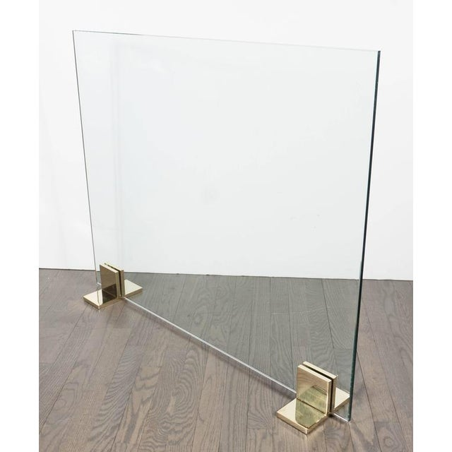 Custom Modern Fire Screen in Polished Brass and Tempered Glass For Sale In New York - Image 6 of 10