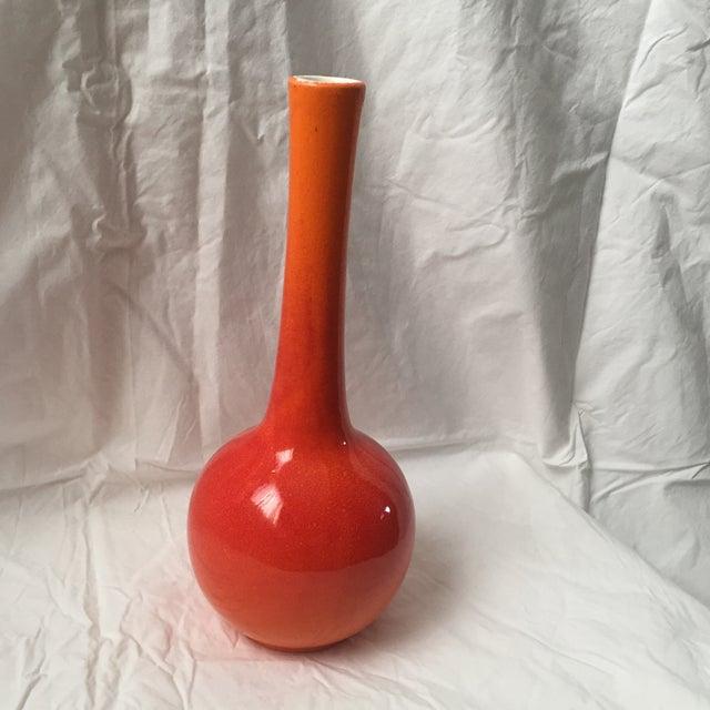 Vintage Haeger Pottery Orange Red Glaze Bud Vase - Image 5 of 7