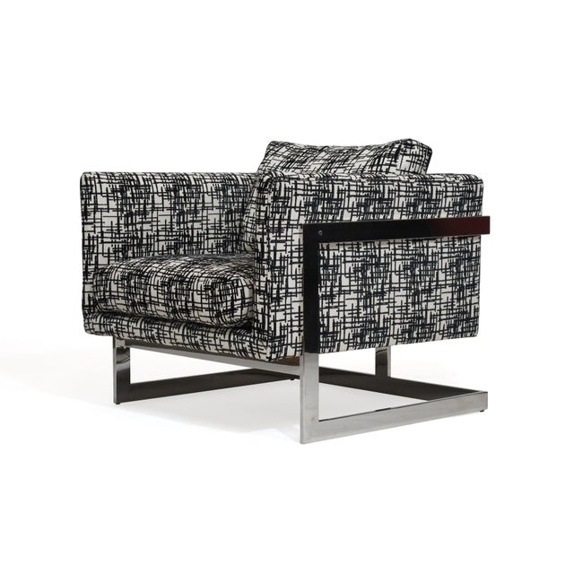 Milo Baughman for Thayer Coggin T-back lounge chair designed in 1966 polished stainless steel upholstered in a white with...