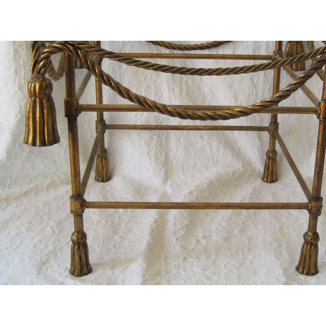 Mid-Century Italian Hollywood Regency Table With Gilt Cast Metal Rope Tassels Base Only For Sale - Image 4 of 9