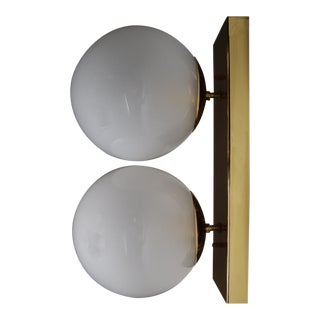 Mid 20th Century Double Brass Wall Scone With Hand Blowed Frosted Glass Globes For Sale