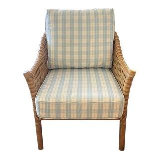 McGuire Woven Leather Club Chair With Blue and White Plaid Upholstery For Sale